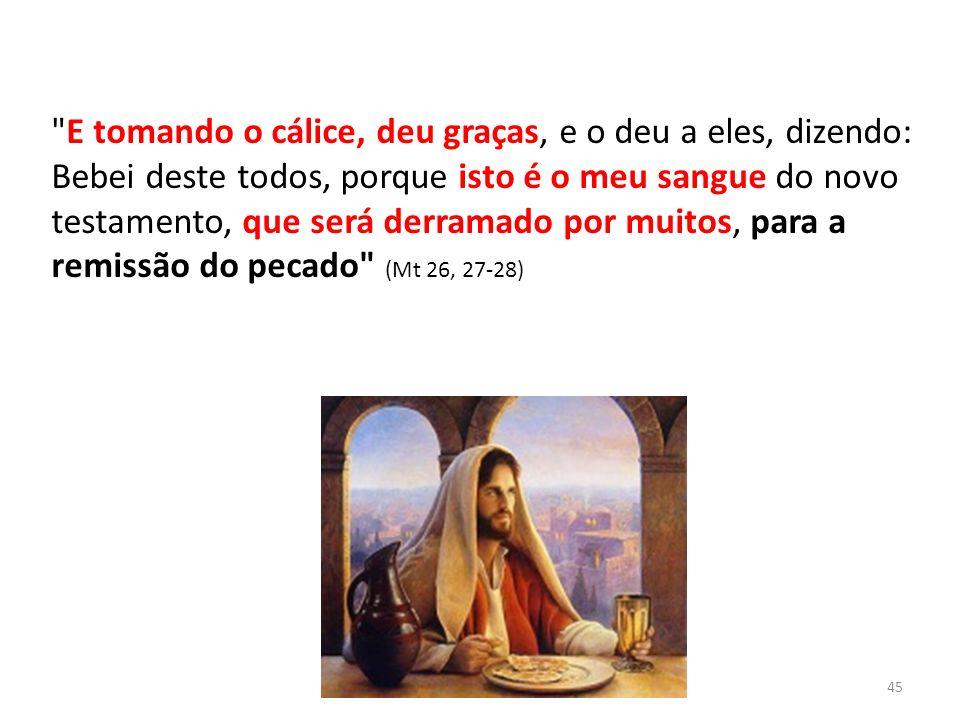 E tomando o cálice, deu graças, e o deu a eles, dizendo: Bebei deste todos, porque isto é o meu sangue do novo testamento, que será derramado por muitos, para a remissão do pecado (Mt 26, 27-28)