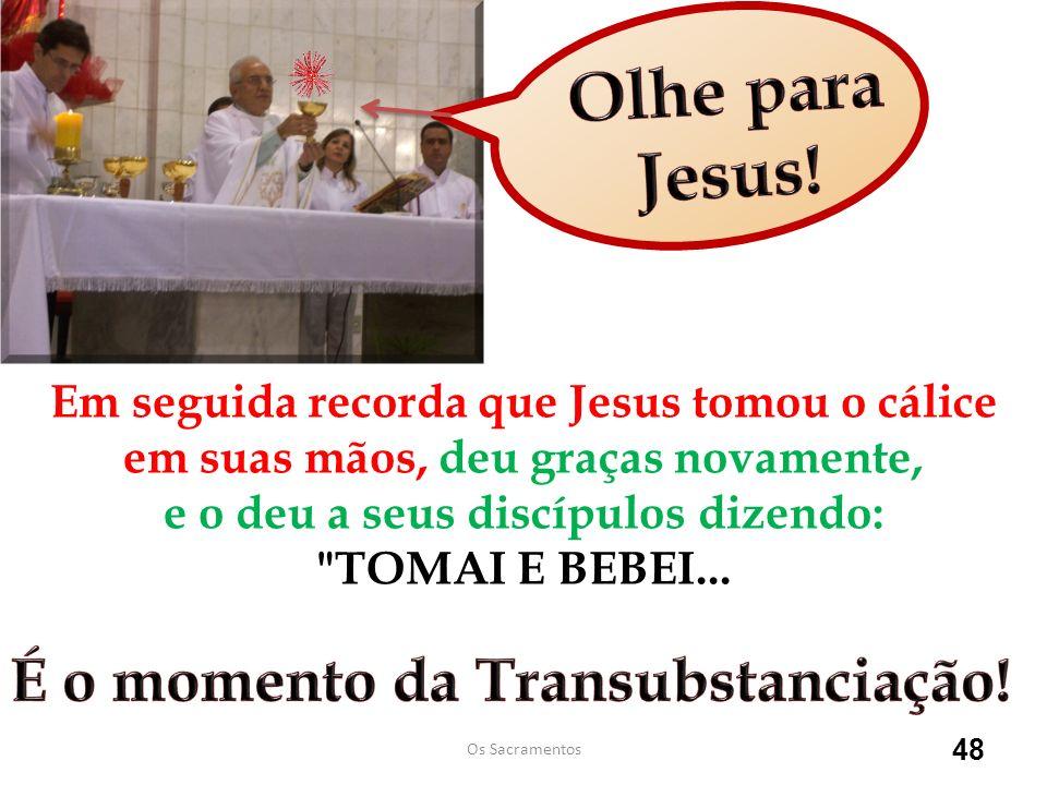 Olhe para Jesus! É o momento da Transubstanciação!