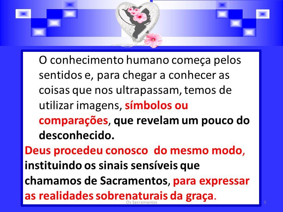 O conhecimento humano começa pelos sentidos e, para chegar a conhecer as coisas que nos ultrapassam, temos de utilizar imagens, símbolos ou comparações, que revelam um pouco do desconhecido.
