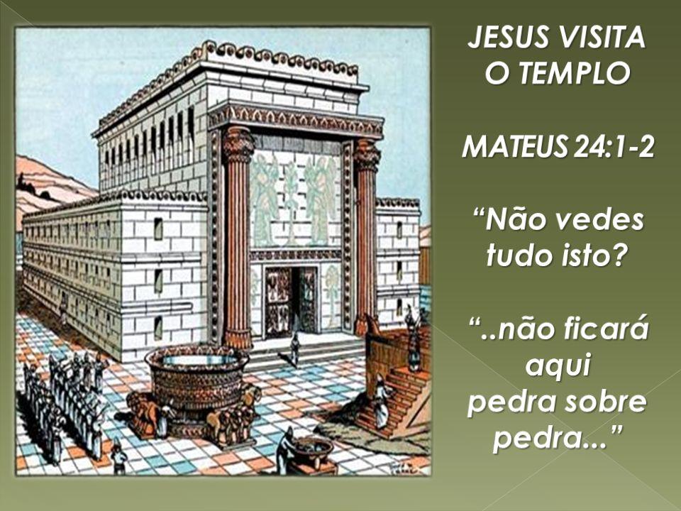 JESUS VISITA O TEMPLO MATEUS 24:1-2 Não vedes tudo isto ..não ficará aqui pedra sobre pedra...