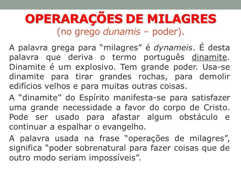 OPERARAÇÕES DE MILAGRES (no grego dunamis – poder).
