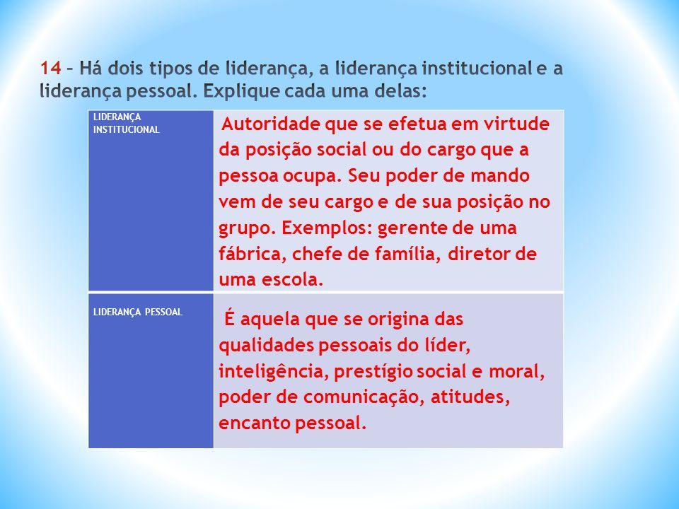 14 – Há dois tipos de liderança, a liderança institucional e a liderança pessoal. Explique cada uma delas:
