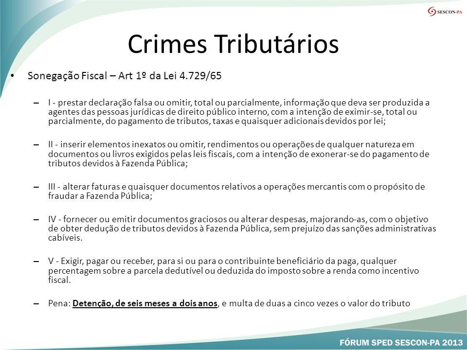 Crimes Tributários Sonegação Fiscal – Art 1º da Lei 4.729/65