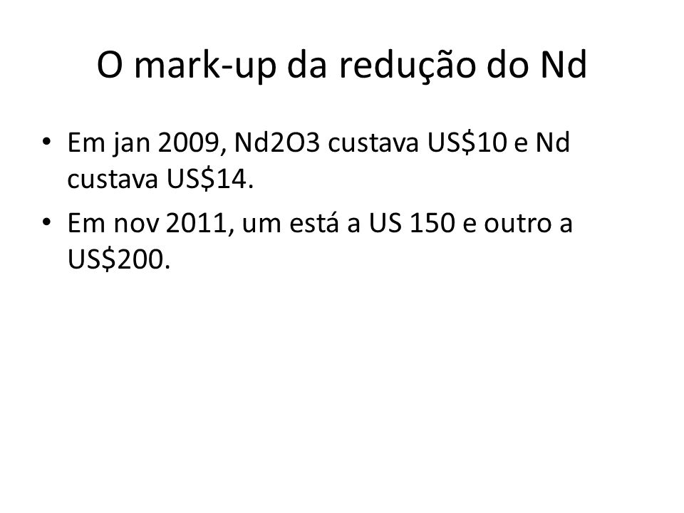 O mark-up da redução do Nd