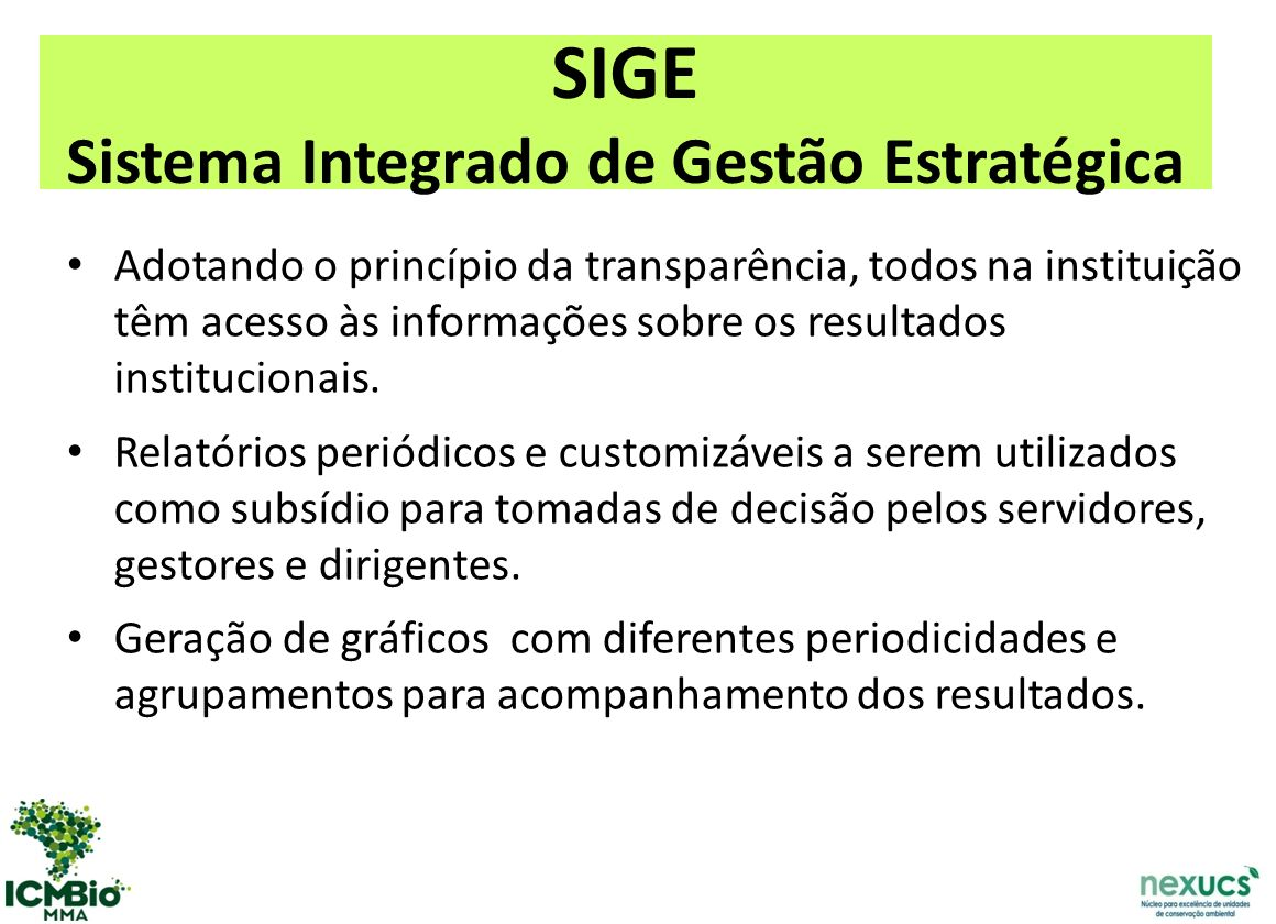 SIGE Sistema Integrado de Gestão Estratégica
