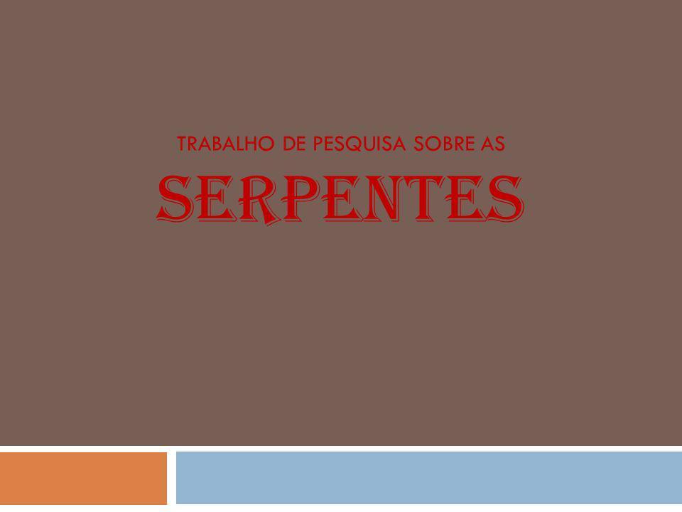 Trabalho de pesquisa sobre as SERPENTES