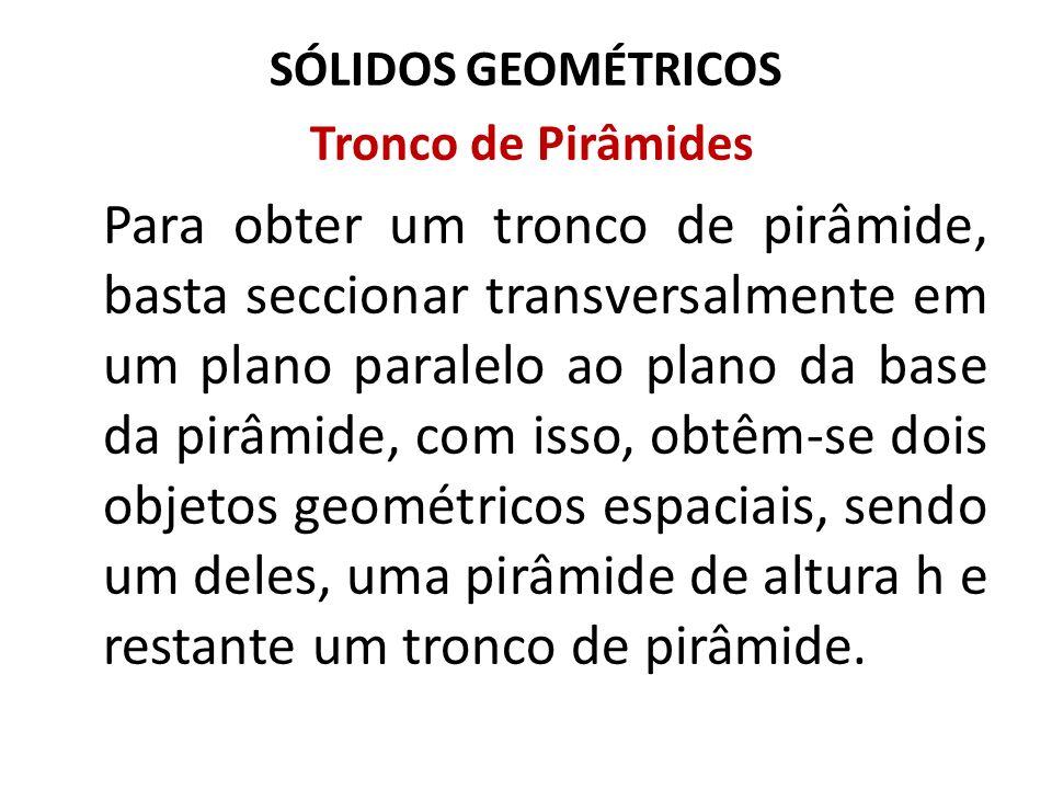 SÓLIDOS GEOMÉTRICOS Tronco de Pirâmides.