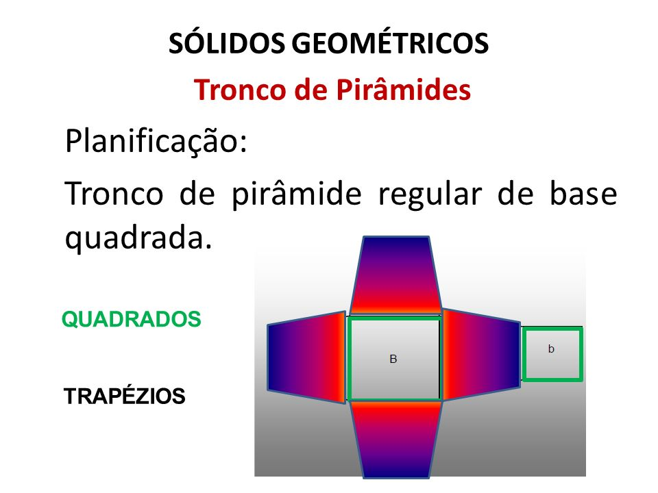 Tronco de pirâmide regular de base quadrada.