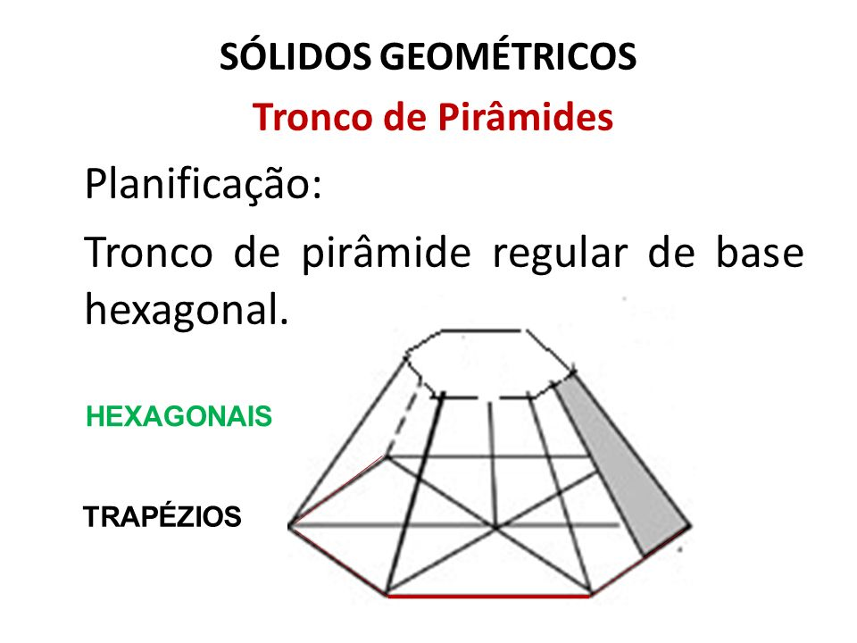 Tronco de pirâmide regular de base hexagonal.