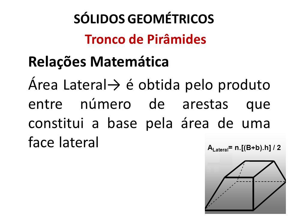 SÓLIDOS GEOMÉTRICOS Tronco de Pirâmides. Relações Matemática.