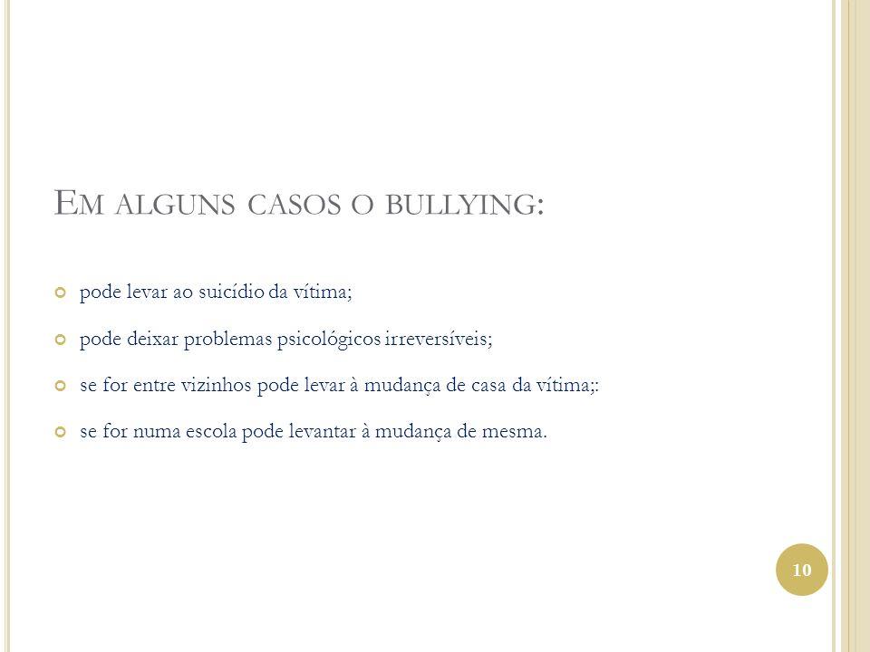 Em alguns casos o bullying:
