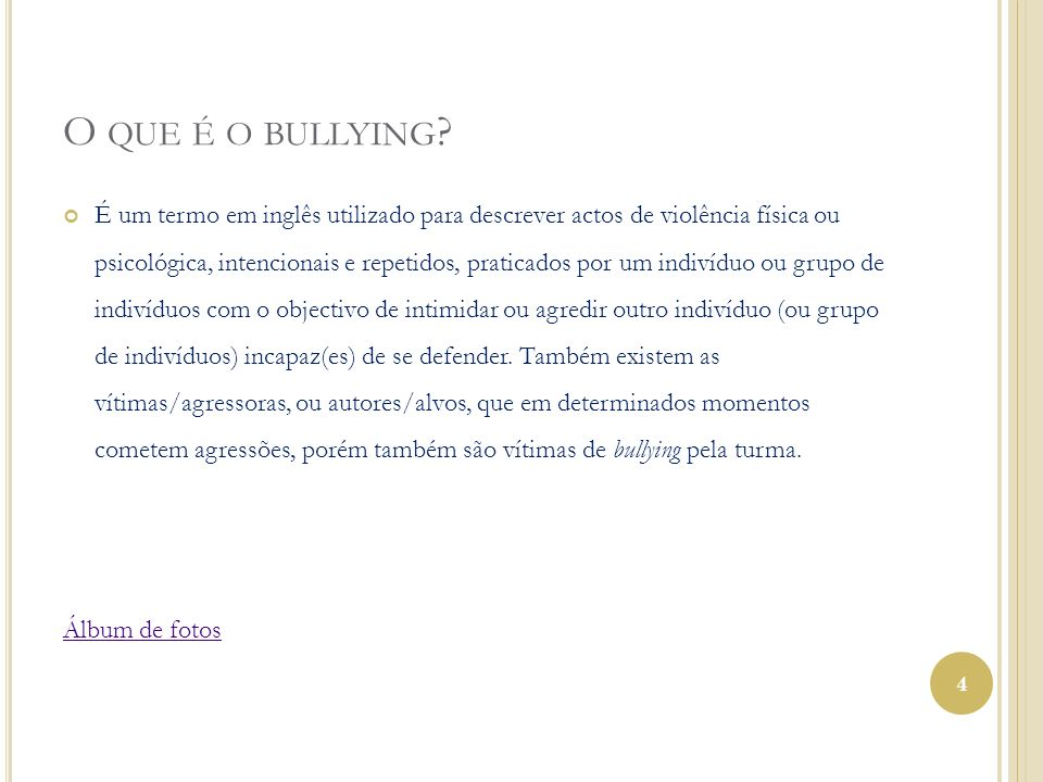O que é o bullying