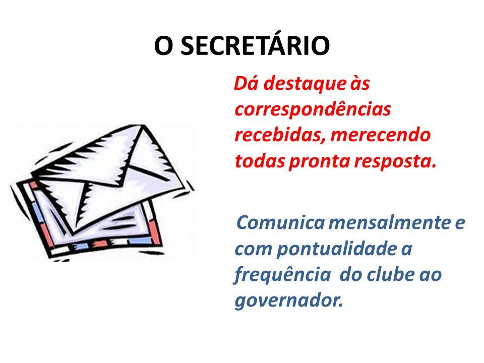 O SECRETÁRIO Dá destaque às correspondências recebidas, merecendo todas pronta resposta.