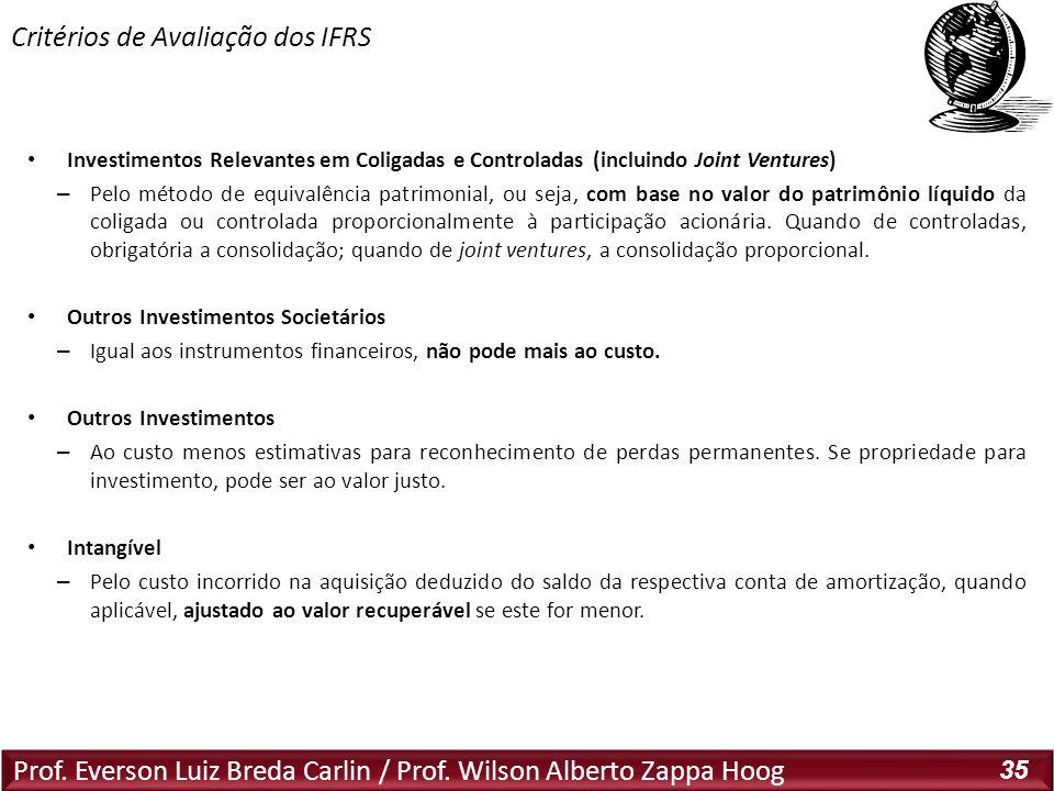 Critérios de Avaliação dos IFRS