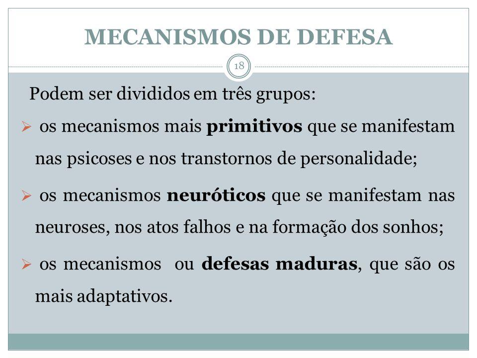 MECANISMOS DE DEFESA Podem ser divididos em três grupos: