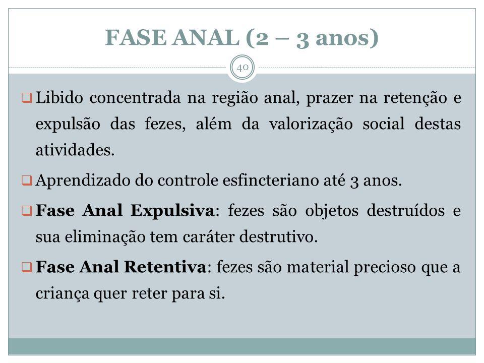 FASE ANAL (2 – 3 anos) Libido concentrada na região anal, prazer na retenção e expulsão das fezes, além da valorização social destas atividades.