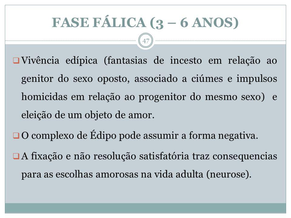 FASE FÁLICA (3 – 6 ANOS)