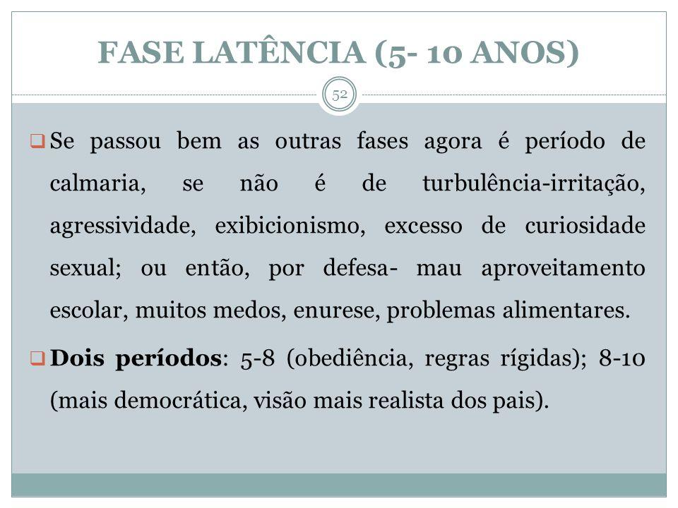 FASE LATÊNCIA (5- 10 ANOS)