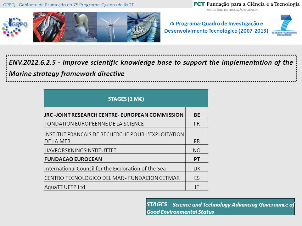 ENV.2012.6.2.5 - Improve scientific knowledge base to support the implementation of the Marine strategy framework directive