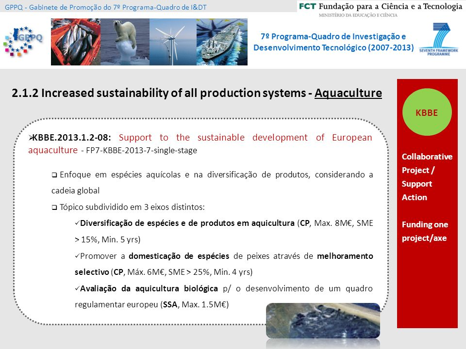 2.1.2 Increased sustainability of all production systems - Aquaculture