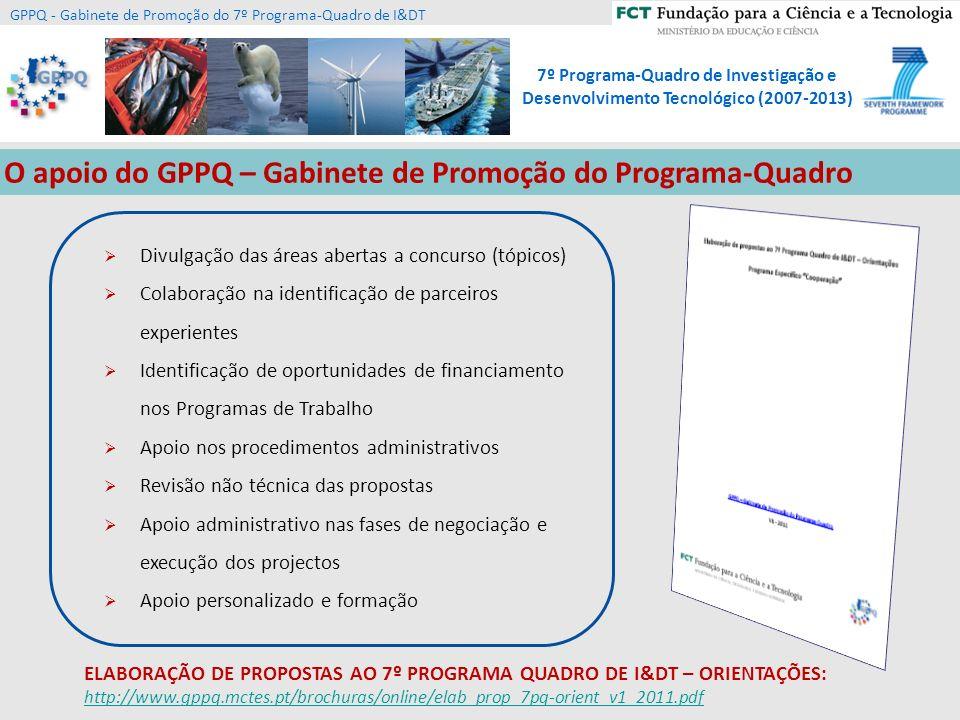 O apoio do GPPQ – Gabinete de Promoção do Programa-Quadro