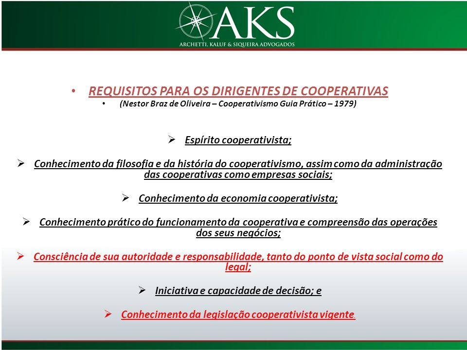 REQUISITOS PARA OS DIRIGENTES DE COOPERATIVAS