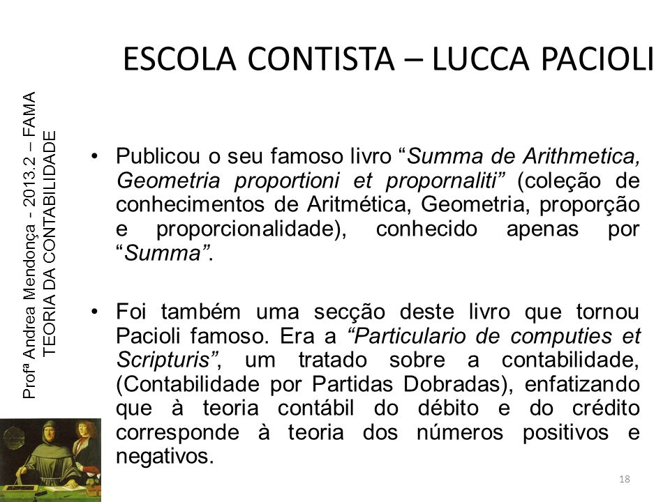 ESCOLA CONTISTA – LUCCA PACIOLI