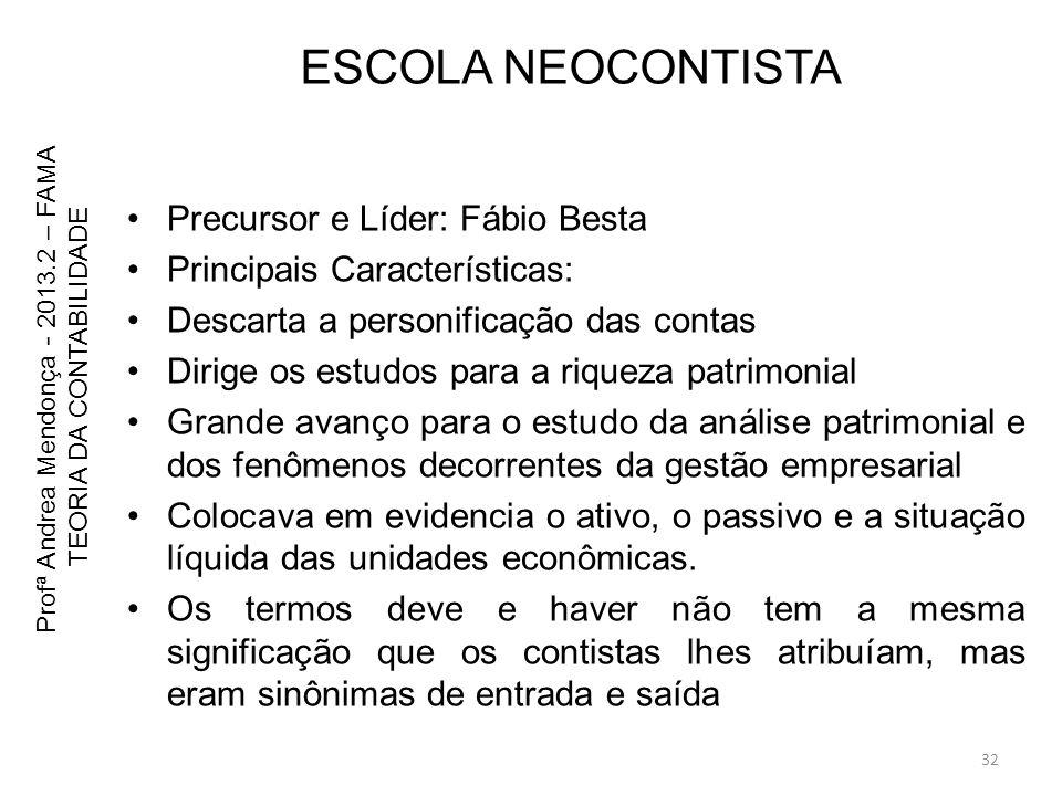ESCOLA NEOCONTISTA Precursor e Líder: Fábio Besta