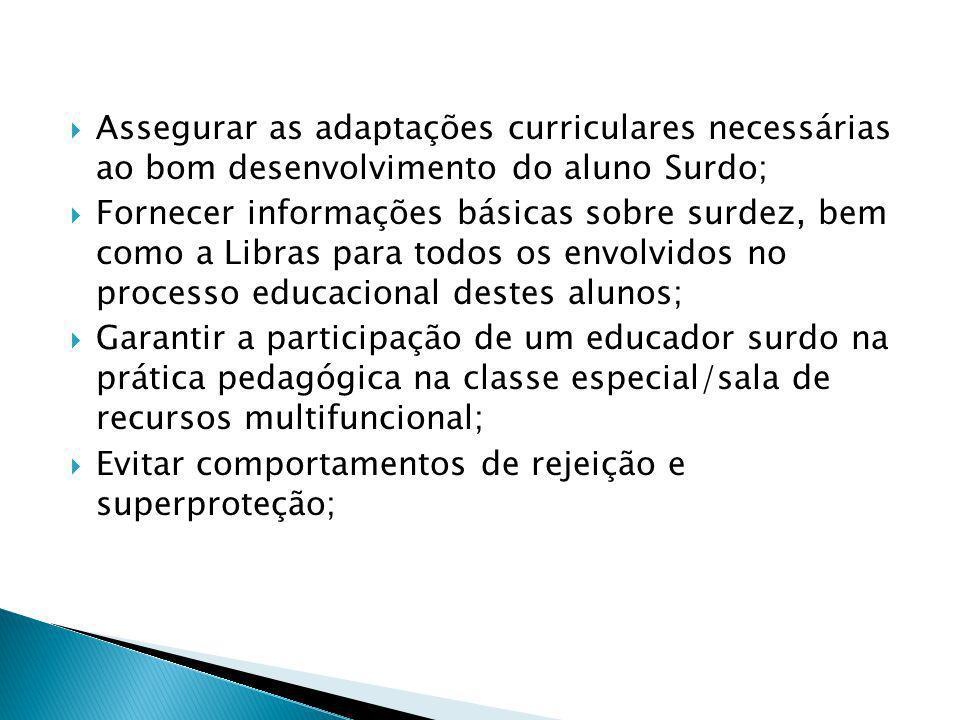 Assegurar as adaptações curriculares necessárias ao bom desenvolvimento do aluno Surdo;