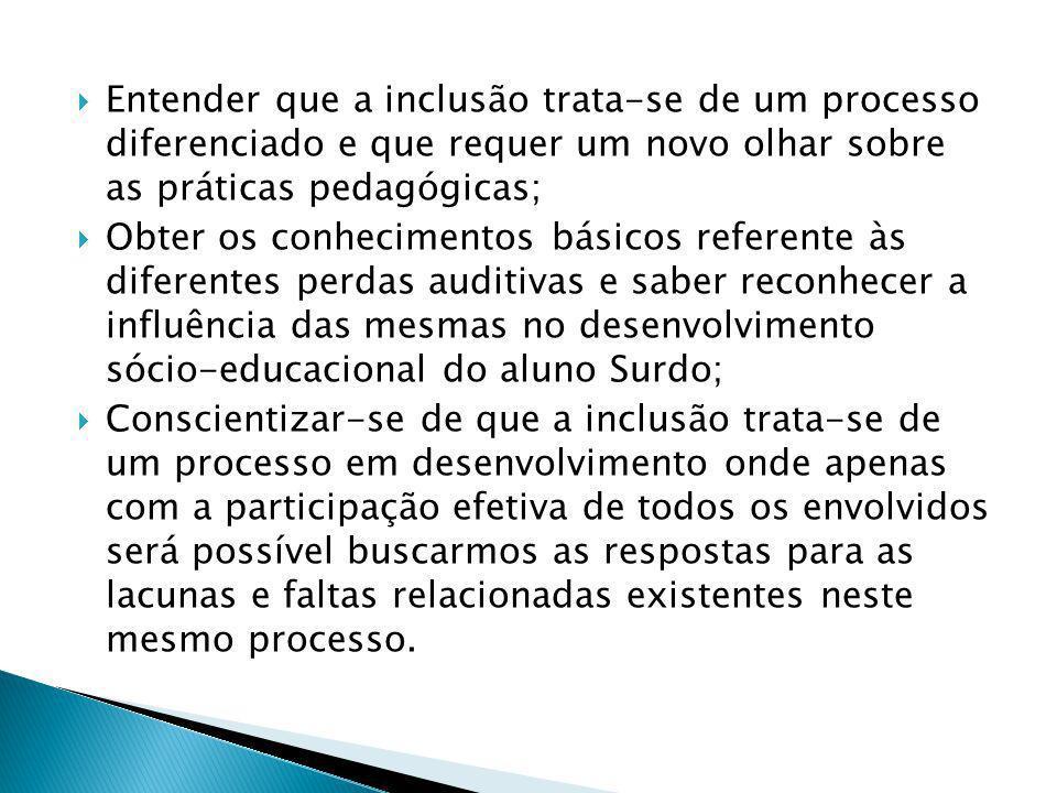 Entender que a inclusão trata-se de um processo diferenciado e que requer um novo olhar sobre as práticas pedagógicas;