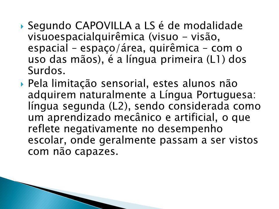 Segundo CAPOVILLA a LS é de modalidade visuoespacialquirêmica (visuo - visão, espacial – espaço/área, quirêmica – com o uso das mãos), é a língua primeira (L1) dos Surdos.