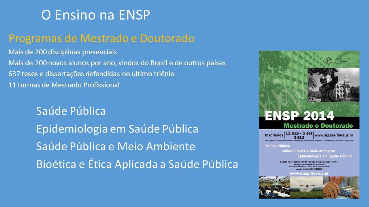 O Ensino na ENSP Programas de Mestrado e Doutorado Saúde Pública