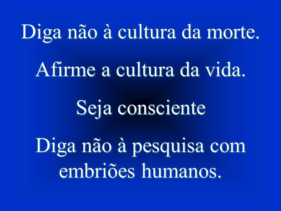 Diga não à cultura da morte. Afirme a cultura da vida. Seja consciente