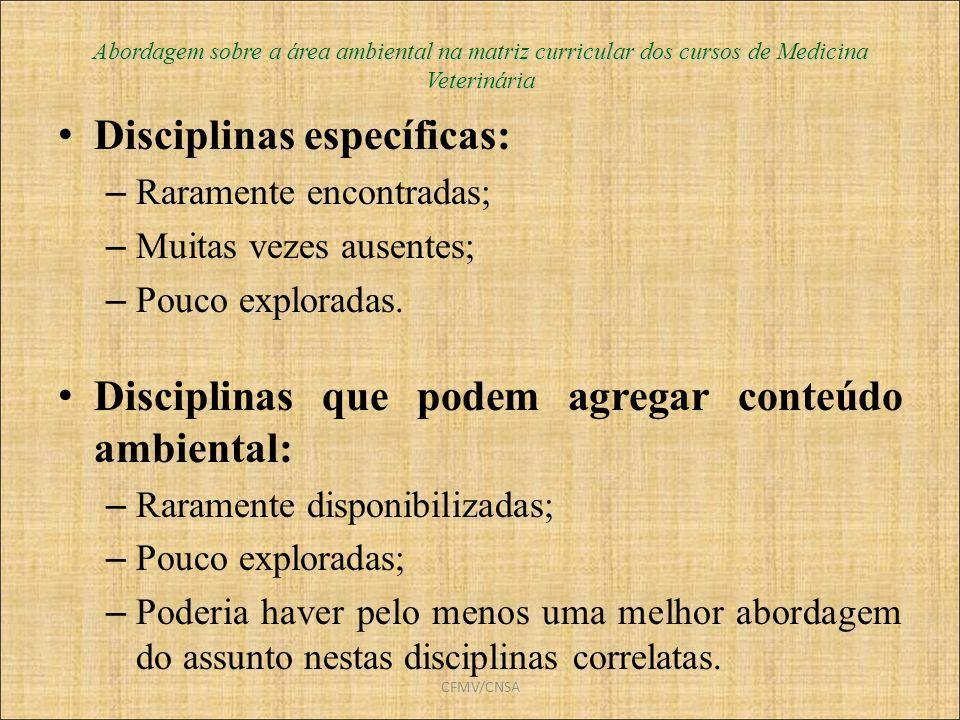Disciplinas específicas: