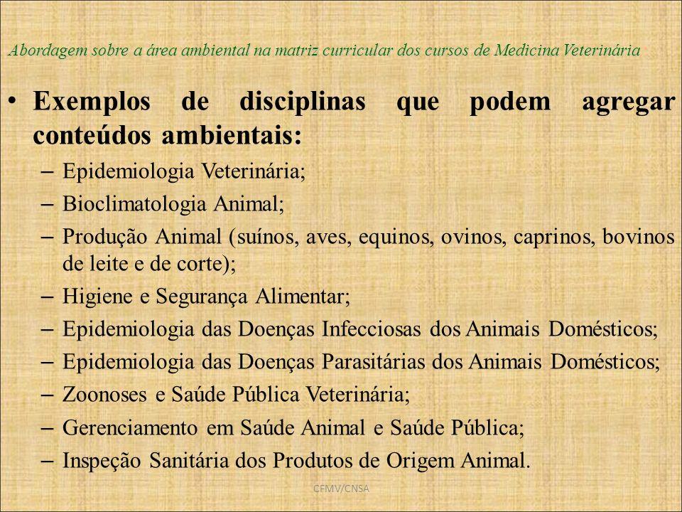Exemplos de disciplinas que podem agregar conteúdos ambientais: