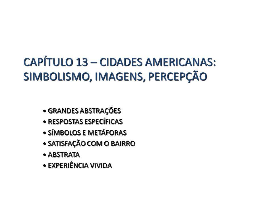 CAPÍTULO 13 – CIDADES AMERICANAS: SIMBOLISMO, IMAGENS, PERCEPÇÃO