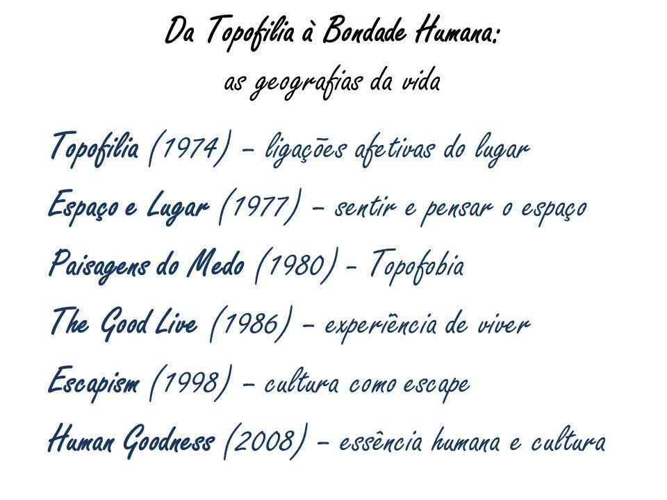 Da Topofilia à Bondade Humana: as geografias da vida