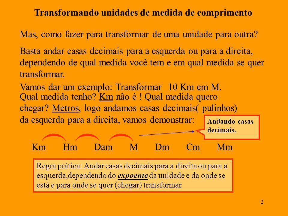 ( ( ( Transformando unidades de medida de comprimento
