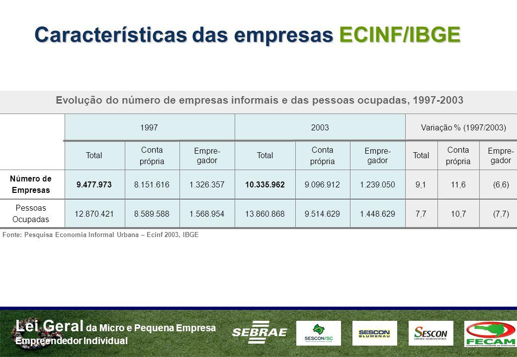 Características das empresas ECINF/IBGE