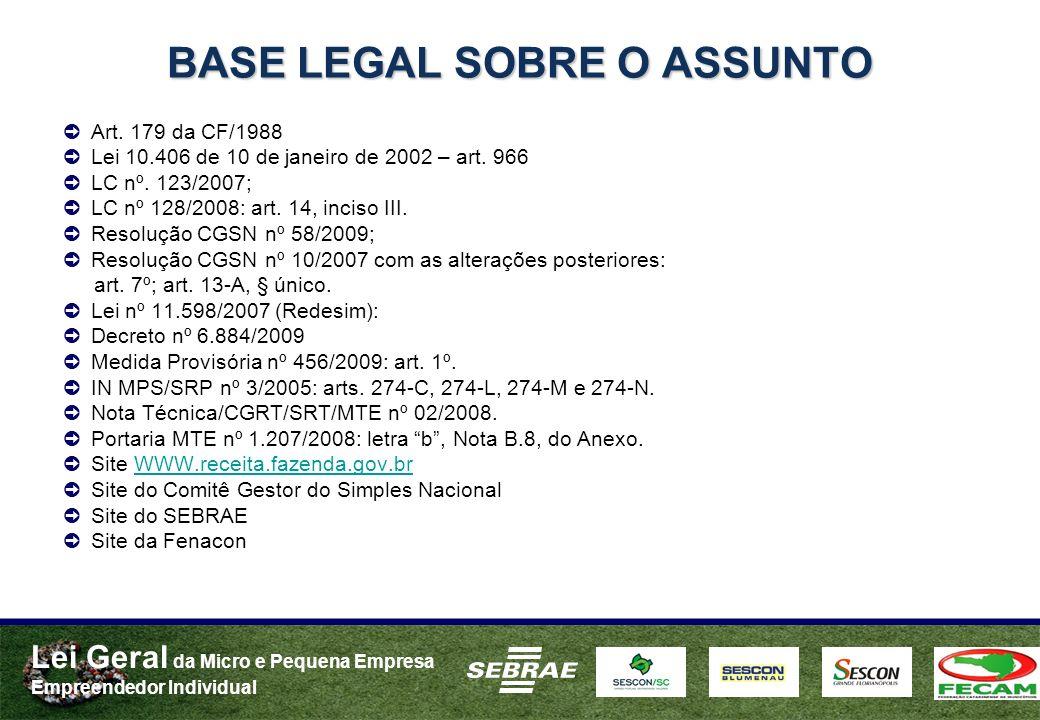 BASE LEGAL SOBRE O ASSUNTO