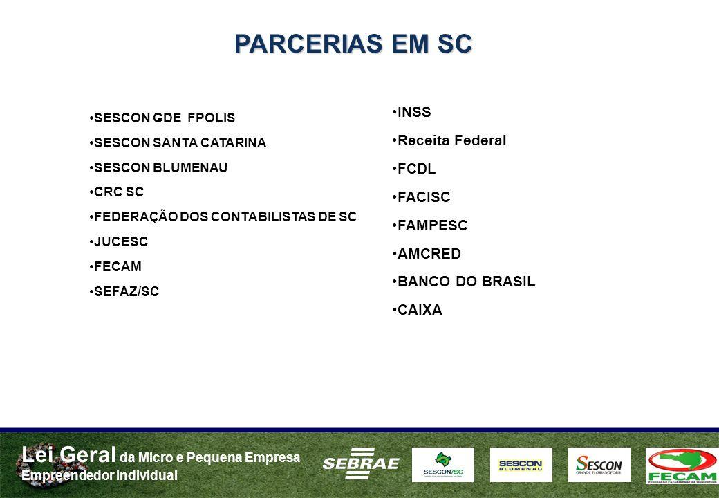PARCERIAS EM SC INSS Receita Federal FCDL FACISC FAMPESC AMCRED