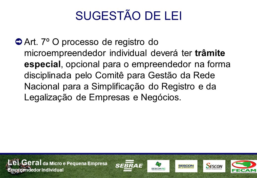 SUGESTÃO DE LEI