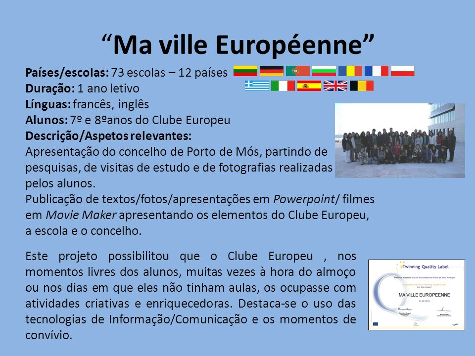 Ma ville Européenne Países/escolas: 73 escolas – 12 países