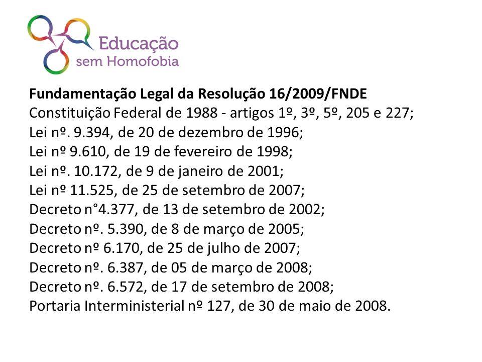 Fundamentação Legal da Resolução 16/2009/FNDE