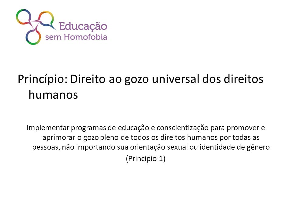 Princípio: Direito ao gozo universal dos direitos humanos