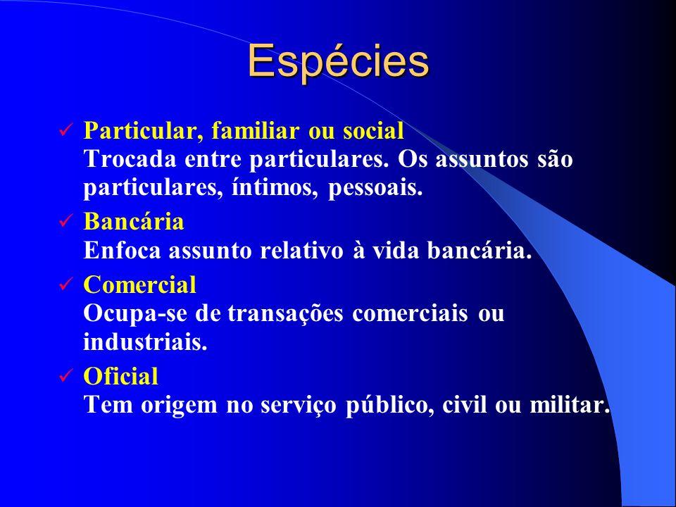 Espécies Particular, familiar ou social Trocada entre particulares. Os assuntos são particulares, íntimos, pessoais.