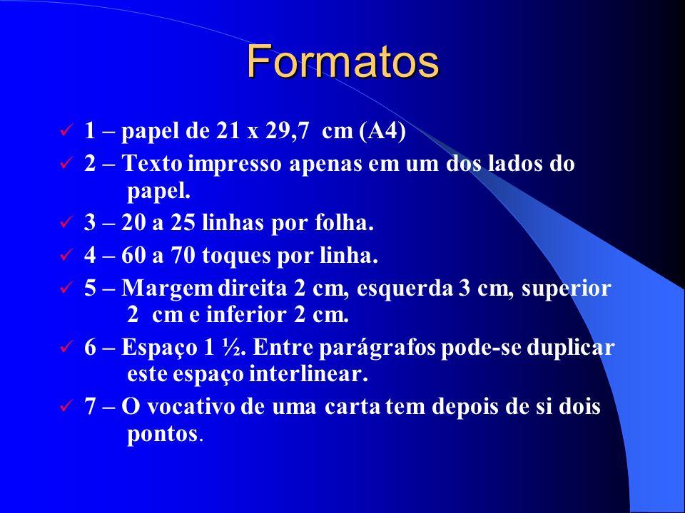Formatos 1 – papel de 21 x 29,7 cm (A4)