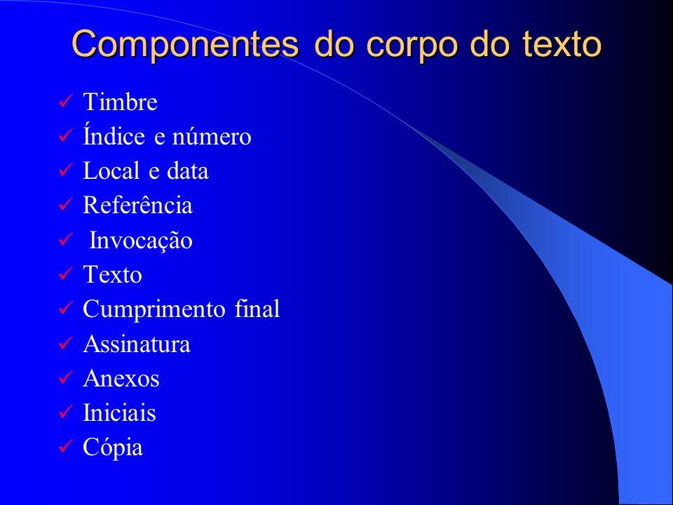 Componentes do corpo do texto