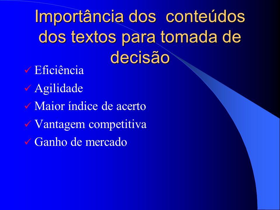 Importância dos conteúdos dos textos para tomada de decisão