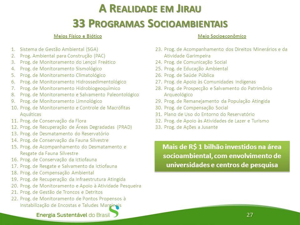 A Realidade em Jirau 33 Programas Socioambientais